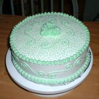 St. Patricks Day Practice Cake This is another practice cake that I just got done with. It is a Pistachio Nut Cake with buttercream icing, done all in green, just in time...