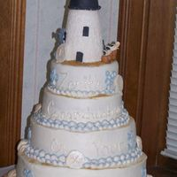 Lighthouse Retirement Same cake as the first uploaded, this one has blue accents added. Lighthouse and base are gumpaste and fondant over styro. Seashells are...