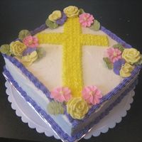 Easter Cross Cake  I started making a square cake for Easter before I knew what I was going to do with it. I came across a cake similar to this in the gallery...