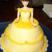Princess Belle Cake for a little girl who loves yellow and princesses. Butter cake made with wondermold pan, buttercream icing.