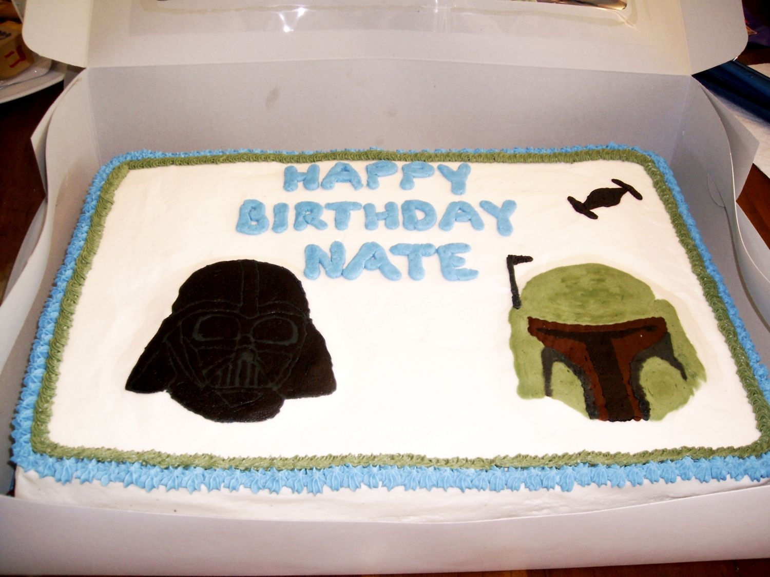 Star Wars Marble cake with buttercream. Darth Vader and Boba Fett are FBCT.