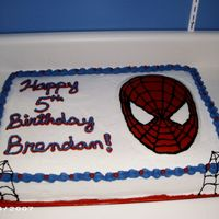 Spiderman Marble cake with oreo filling. Iced in buttercream with FBCT spiderman.