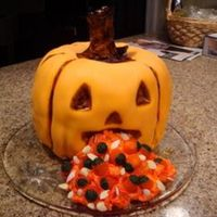 Halloween Pumpking Cake - Barfing Pumpkin Barfing pumkin - they eat their own!