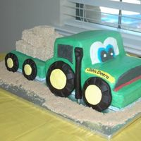 John Deere Birthday   Iced in all buttercream, wheels and smoke stack are fondant, hay is rice krispie treats.