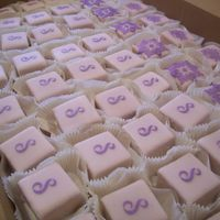 Stenciled Wedding Shower Petit Fours