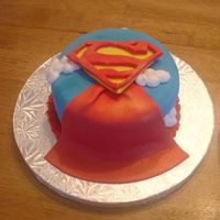 Superman   This is a 6inch dark chocolate cake for my son's b-day