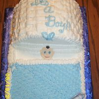 This Is The Correct Baby Shower Picture! 9x13 base with 3 9in halves for the bassinet top-put a piece of cakeboard behind outside piece to make sure did not fall out-decorated...