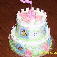 "Disney Princess Cake Birthday cake for a little girl-roses are not the best-go figure-but I thought they would work-pretty simple cake-2 8"", 2 6""-"