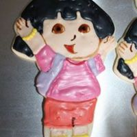 Closeup Of Dora The Explorer Cookie Here is a better pic... my first batch of cookies made with my own hand made cookie cutter!