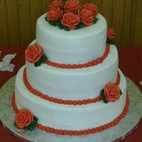 Red Rose Bridal Shower Cake   Buttercream icing; royal icing roses