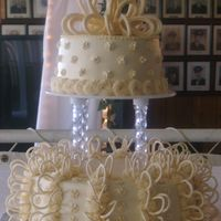 Ivory Wedding   Buttercream Icing; Royal icing loops