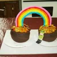 Pots Of Gold At The End Of The Rainbow   3D cakes - two pots of gold with a gumpaste rainbow on top