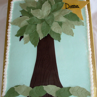 Tree & Star This cake was for someone who earned a Star award - the organizations logo is a tree. Its an 11x15 sheet cake with buttercream. Fondant...