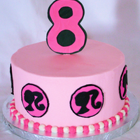 "Barbie Girl Cake 8"" round cake with BC icing and fondant accents. Gumpaste #8"