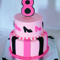 "Fashion Cake BC icing with fondant accents - number 8 is gumpaste... cake is 6"" and 8"""