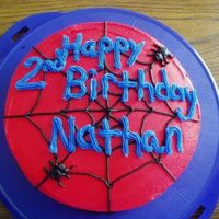 Spider Web Cake   This was a 8in round vanilla cake with buttercream icing. I used black buttercream icing to make the web and spiders.
