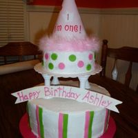 Ashleys_1St_Bday_Cake.jpg Bottom layer was a 10 inch double layer white cake, top tier was 6 inch double layer chocolate cake. Covered in BC icing with fondant polka...