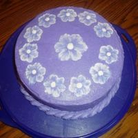 Purple Embroidery Cake This is a double layer 8 in round strawberry cake. Covered with BC icing. This was the first time I have ever done the brush embroidery...