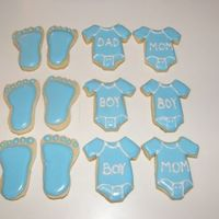 Boy Baby Shower Cookies   NFSC with Antonia74 icing. No cookie cutters, so I free handed a stencil to follow on the chilled dough.
