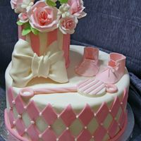 Pink Baby Shower Dummy cake made to add to my portfolio. All fondant, roses, booties and rattle are gumpaste. The bow is gumpaste dusted in pearl dust. TFL...