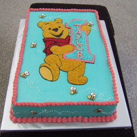 Winnie The Pooh 1St Birthday Freehand Pooh bear, piped in stars. Bee's are made out of chocolate