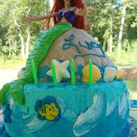 Mermaid Cake  First time to use dome cake pan! Whew. Choco MMF covered to look like a rock. Mermaid tail is also MMF. Thank you to this site for...