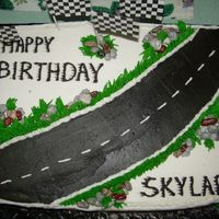 Skylarcake.jpg Cake done for a boy's birthday. The mother put little cars on it after she picked it up so she could get a discount. Wow.