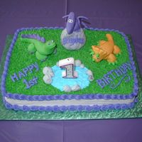 Dinosuars This was the first cake I made after taking my first cake decorating class. It was for my son's birthday.