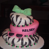 3 Tier Topsy Turvy White cake, covered in BC @ 1st. I put the whole cake in the freezer and took it out hours later. The cake started sweating, and the zebra...
