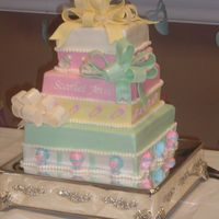 3-Tier Baby Shower Cake covered in fondant, gumpaste bows. Design was copied from another cake on cc.