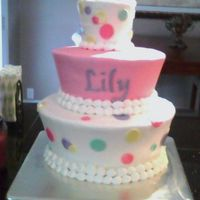 3 Tier Baby Girl Mod Shower Each tier is white cake w/cream cheese filling covered in bc & fondant dots & bow.