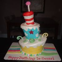 Dr. Seuss Birthday Cake Tilted cake covered in buttercream, RK hat covered in fondant w/fondant accents