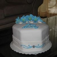 40Th Birthday Cake Blue and white elegant birthday cake