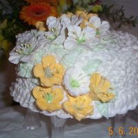 Yellow And White Flowers On Lace yellow and white cake