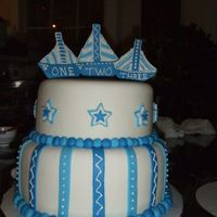 Blue And White A cake for triplets