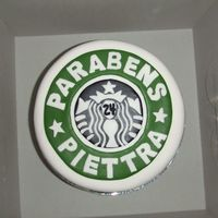 Starbucks Birthday Cake I made this for my Brazilian Friend. It is the Darn Good Chocolate Cake with Cofee buttercream. Coverered in Fondant with fondant cutouts...