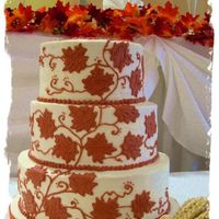 Maple Leaf   Copper buttercream maple leaves cascading up the cake - one of my fav's!