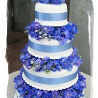 Blue Hydrangea   I used hidden pillars to separate the cakes and then filled in the space with (silk) hydrangeas.
