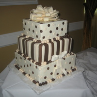 Square Polka Dot And Striped Cake Buttercream icing with fondant accents. Imprinted gumpaste bow on top.
