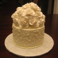 Recreated Top Tier Of Wedding Cake Ivory buttercream with gumpaste roses