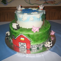 Farm Animal Cake All animals are hand sculpted out of gumpaste fondant mixture. All images on cake are buttercream drawings. One of my favorites!