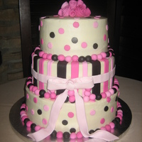Polka Dots And Stripes Cake Covered in buttercream with fondant accents.
