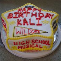 High School Musical Birthday Cake I made this for my cousin's daughter's birthday. Each side of the cake has a different saying and different images from the movie...
