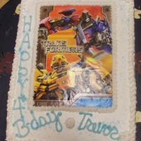Transformers Cake White cake colored blue with bbc icing.