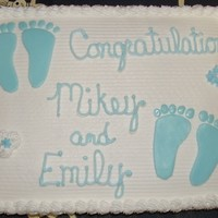 Baby Shower Cake Marble Cake with Fondant baby feet.