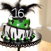 Sweet Sixteen Diva   Buttercream with fondant accents. Number 16 is also fondant, but feathers are real. This cake was a hoot!
