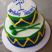 Drum Cake Two tier drum cake for a first birthday. Iced in buttercream with fondant accents. TFL!