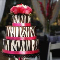"Zebra Print And Hot Pink Wedding  I was really excited to do this wedding cake because the wedding colors were ""Zebra Print and Hot Pink"". It sounds crazy, but..."