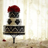 Damask Wedding Cake  White Buttercream with Black Buttercream damask stenciled design. This was my first time using stencils and boy was it a lot tougher than I...