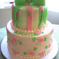 Pink And Green Baby Shower 2 tier cake, frosted with buttercream and fondant accents. tfl!